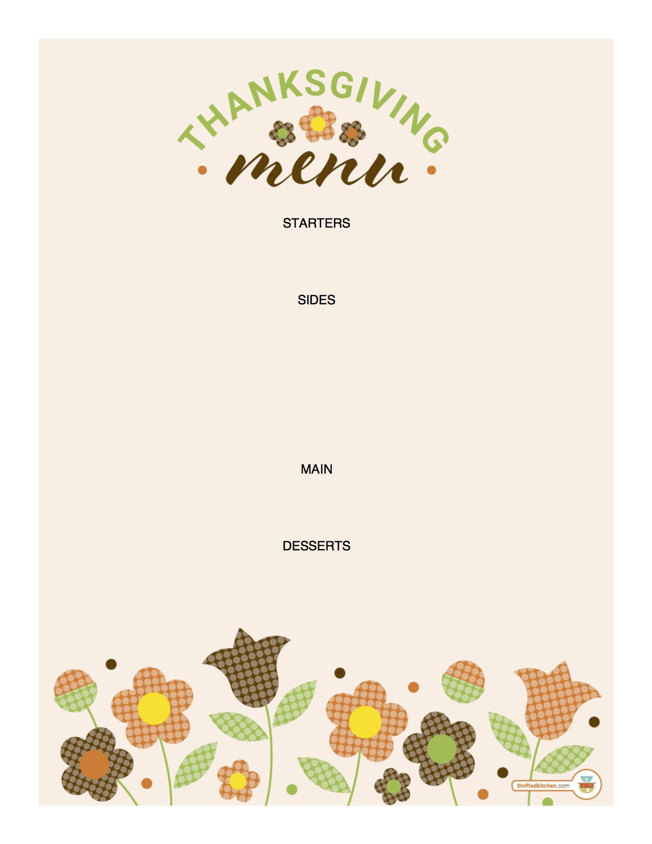 image about Printable Thanksgiving Menu identified as Free of charge Printable Thanksgiving Menu Thrifted Kitchen area