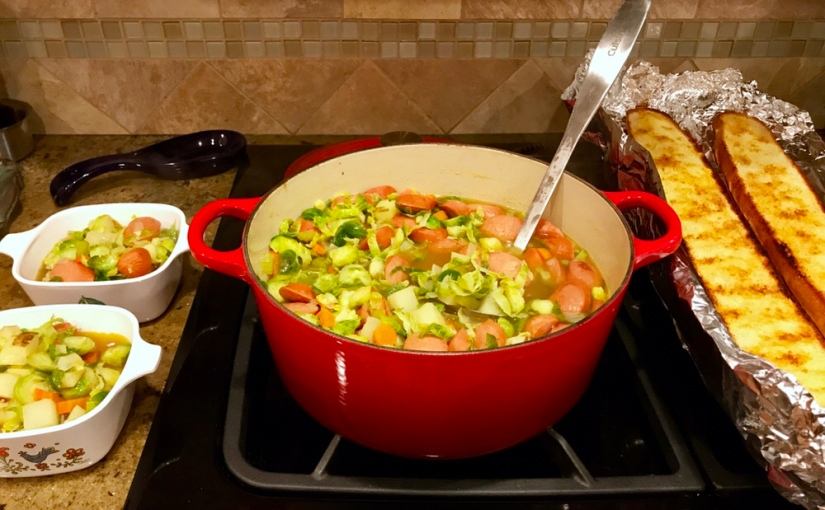 Hearty Kielbasa and Brussels Sprout Soup