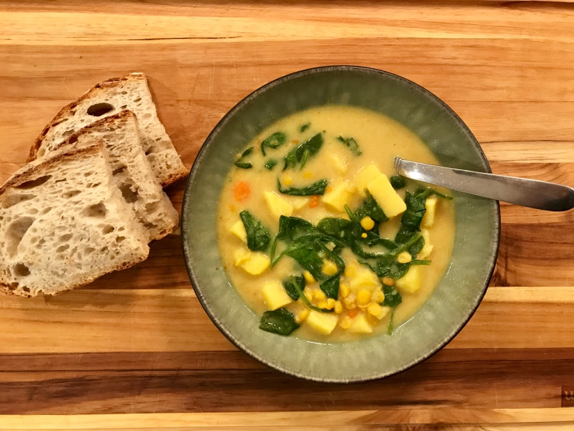Slow Cooker Yellow Split Pea Soup with Sweet Potatoes and Spinach