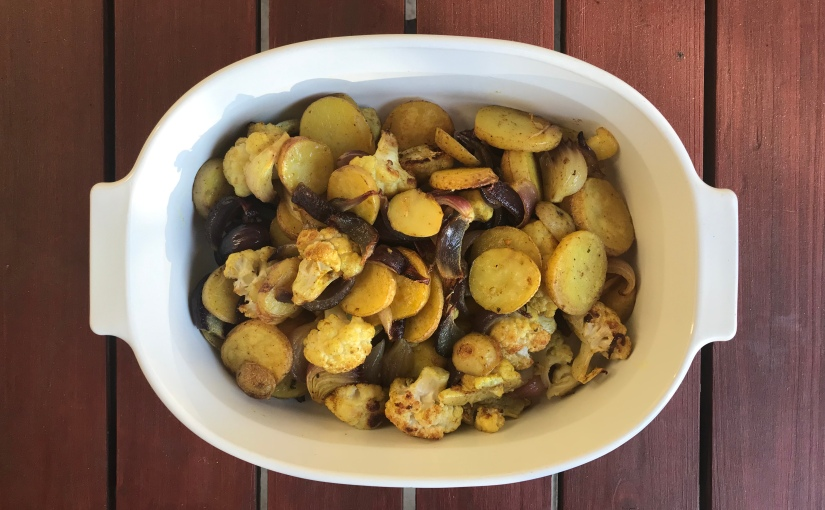 Curry Roasted Potatoes and Cauliflower